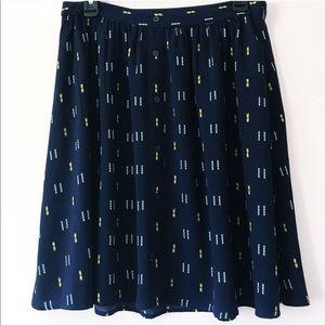 Arrow Print Faux Button Front A-Line Skirt